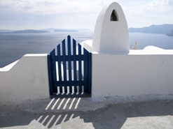 santorini blue gates greece
