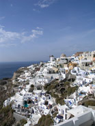 oia hillside santorini greece