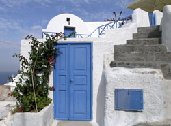 santorini blue doors greece